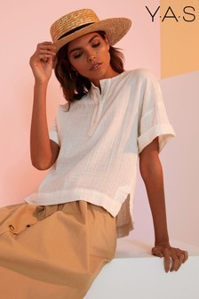 Y.A.S Cotton Short Sleeve Button Up Top
