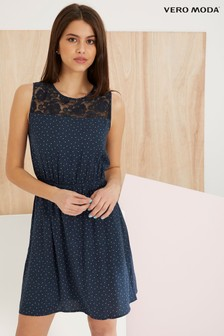 Vero Moda Lace Polka Dot Short Dress