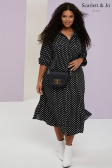 Scarlett & Jo Polka Dot Shirt Dress