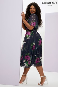Scarlett & Jo Curve Floral Angel Sleeve Mesh Midi Dress
