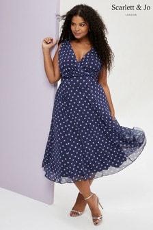 Scarlett & Jo Spot Print Midi Dress