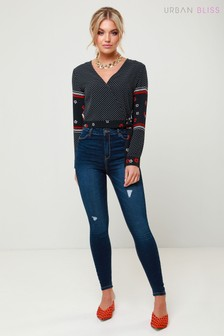 Urban Bliss Skinny-Jeans im Used-Look mit maximal hoher Taille