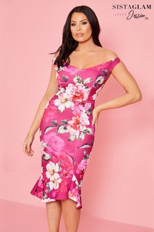 Sistaglam Loves Jessica Wright Floral Print Bodycon Midi Dress