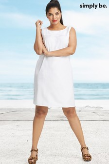 Simply Be V Back Linen Shift Dress