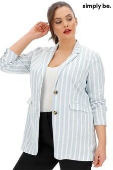 Simply Be Linen Stripe Slouchy Blazer