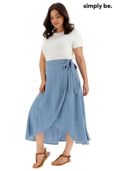 Simply Be Curve Stripe Tencel Wrap Maxi Skirt