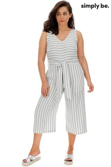 Simply Be Linen V neck Jumpsuit