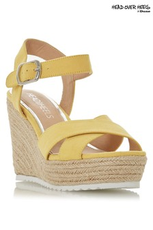 Head Over Heels Cross Strap Jute Wedge