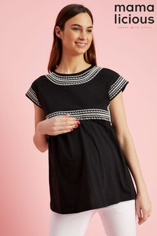 Mamalicious Maternity Embroidered Cotton Top