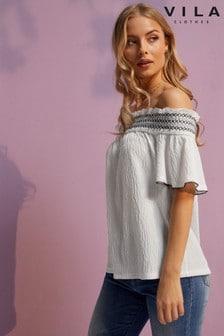 Рубашка с короткими рукавами и спущенными плечами Vila