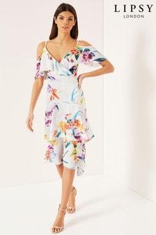 Sukienka z odkrytymi ramionami i koronkowym obszyciem Lipsy Mila z nadrukiem, drobny rozmiar