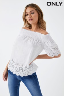 Only Off Shoulder Broderie Anglaise Top