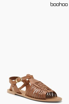 4be2cecdd12 Boohoo Woven Leather Sandals