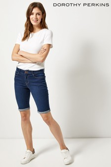 Dorothy Perkins Denim Low Rise Knee Length Shorts