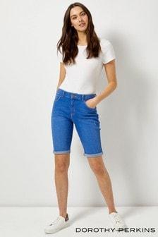 Dorothy Perkins Denim Low Rise Knee Length Shorts