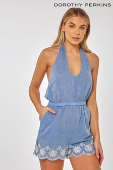 Dorothy Perkins Chambray Broderie Button Playsuit