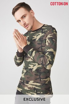 Cotton On Camo Crew Neck Long Sleeve Top
