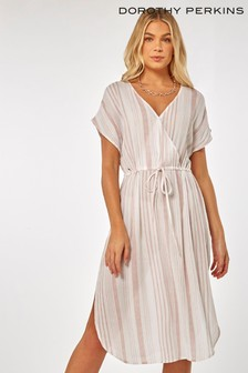 Dorothy Perkins Stripe Wrap Midi Beach Dress