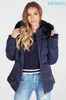 Blue Vanilla Long Padded Fur Lined Hood Padded Parka Coat