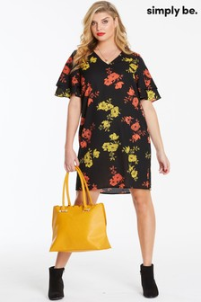 Simply Be Shift Ruffle Sleeve Dress