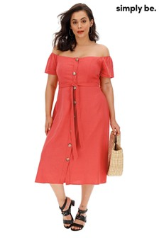 Simply Be Linen Blend Button Through Midi Dress
