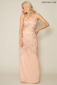 4a746bd5de Sistaglam Embroidered Maxi Dress