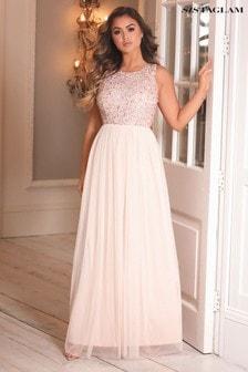 Sistaglam Embellished Halter Maxi Dress