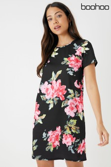 Boohoo Floral Print Mini Shift Dress
