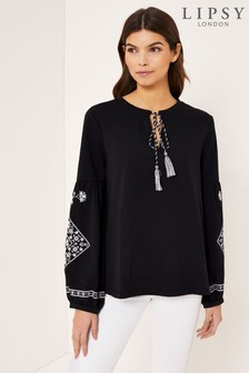 Lipsy Mono Embroidered Sleeve Top