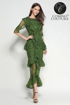 Vestido con volantes de encaje esmeralda de Comino Couture