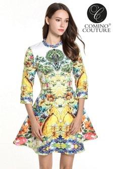 Vestido skater con estampado floral de Comino Couture