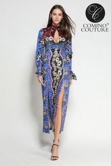 Vestido con diseño de mosaico y abertura en forma de cerradura de Comino Couture