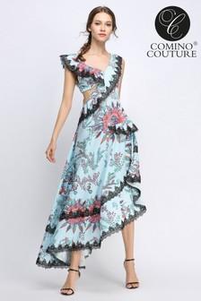 Vestido efecto cascada con estampado floral y hombros descubiertos de encaje de Comino Couture