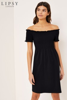 Lipsy Shirred Bardot Dress