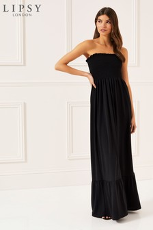 Lipsy Shirred Bandeau Maxi Dress