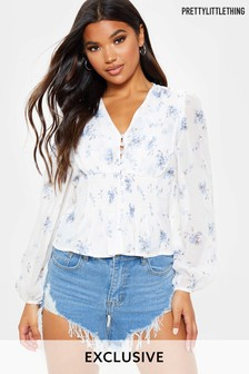 PrettyLittleThing Floral Long Sleeve Blouse
