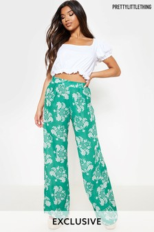 PrettyLittleThing Floral Tie Waist Trousers