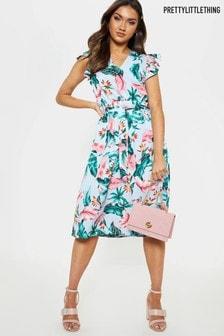 שמלת מידי פרחונית עם מלמלה של PrettyLittleThing