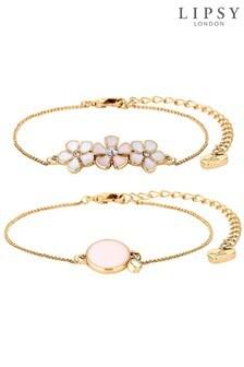 Lipsy Enamel Flower Bracelets- Pack of 2