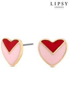 Lipsy Enamel Heart Stud Earrings