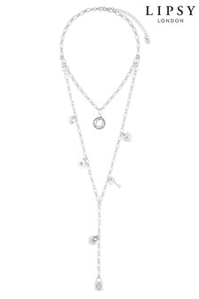 Lipsy Padlock Charm Cluster Layered Necklace