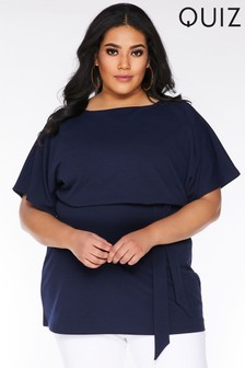 Quiz Curve Batwing Tie Front Tunic