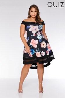שמלת סקייטר מסוג Curve Bardot של Quiz עם מכפלת אחורית