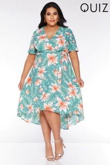 Quiz Curve Tropical Print Tie Front Midi Dress