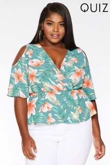 Quiz Curve Cold Shoulder Tropical Print Top