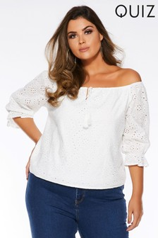 Quiz Curve Broderie Bardot Long Sleeve Top