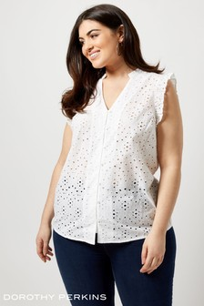 Dorothy Perkins Curve Broderie Flutter Sleeve Shirt