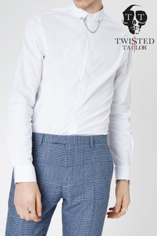 Twisted Tailor Slim Fit Collar Chain Shirt