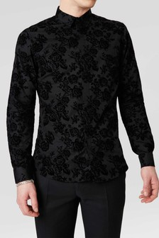 Twisted Tailor Slim Fit Flocked Shirt