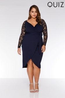 Quiz Curve Lace Wrap Front Dress